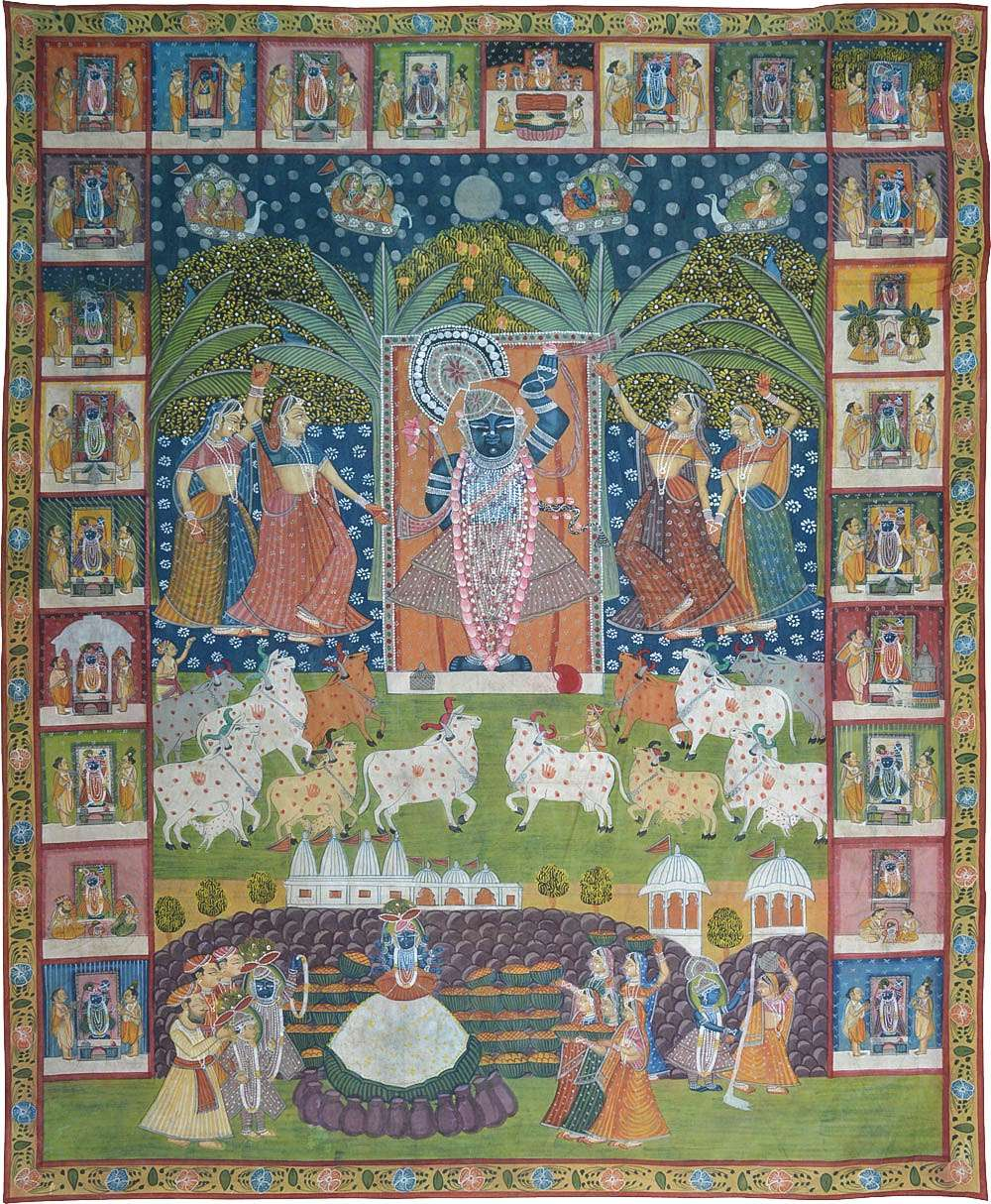Shrinath ji daan lila sharad purnima pichwai painting for Buy art online india