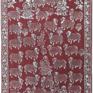 Radha Krishna | Cow (Red Background) | Block Print 0242