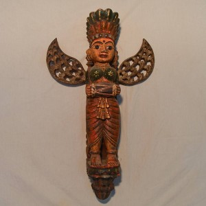 Wooden Handicrafts | Wooden Wall Hanging Pari with Dholak Sculpture 0440