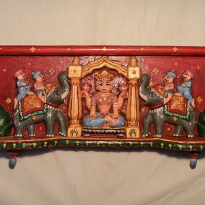 Wooden Handicrafts | Wooden Wall Hanging Hindu Goddess Lakshmi Sculpture 0456