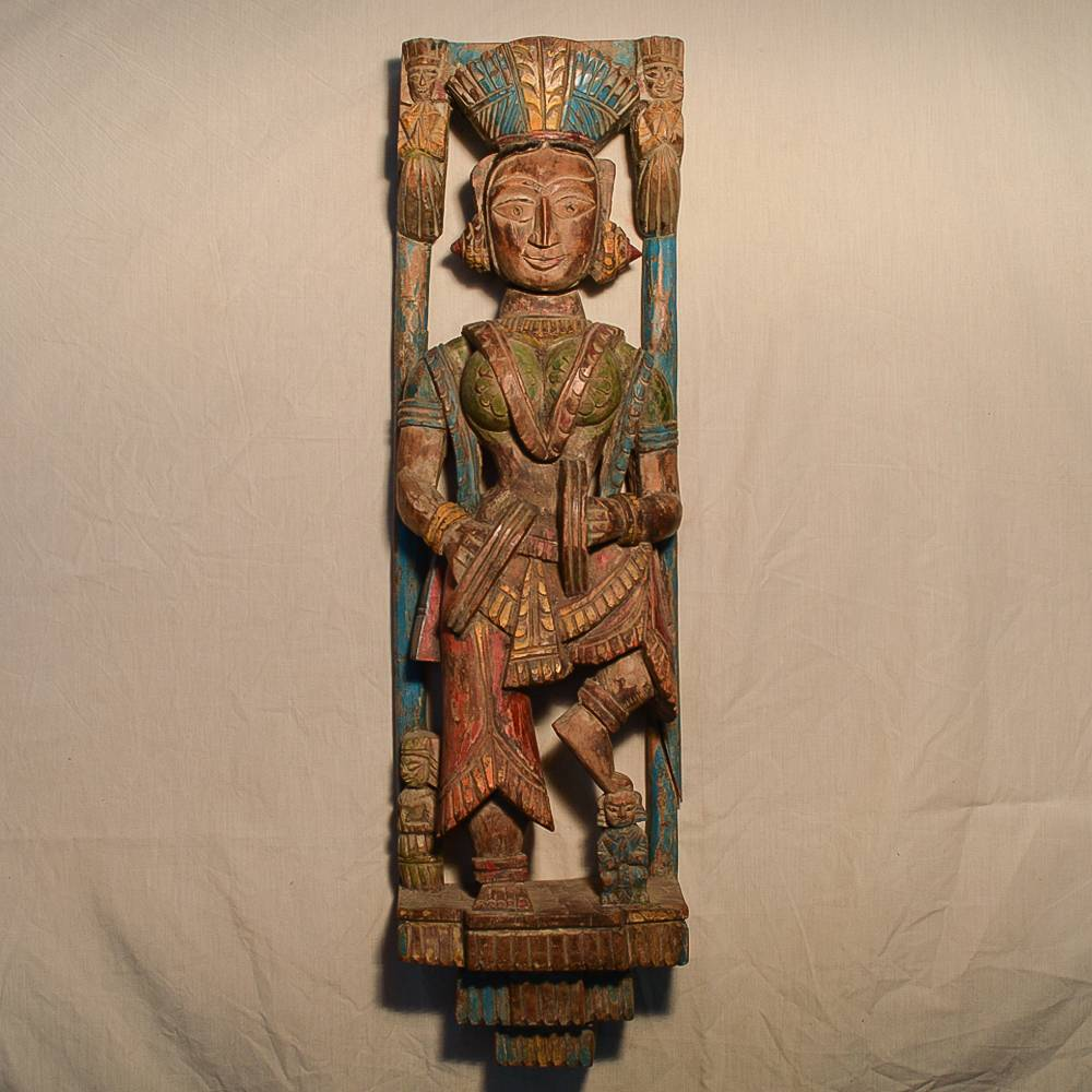 Wooden Handicrafts | Wooden Wall Hanging Lady with Manjira Sculpture 0465