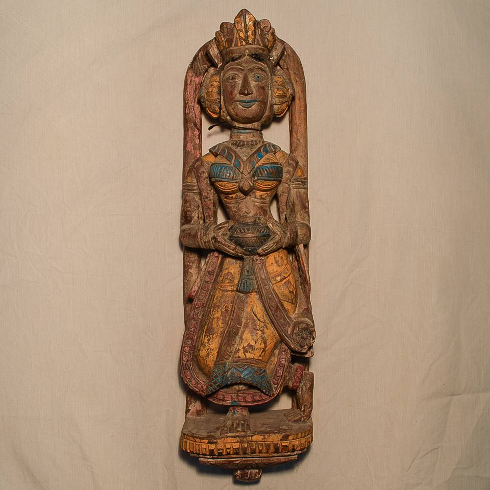Wooden Handicrafts   Wooden Wall Hanging Lady with Pot Sculpture 0466