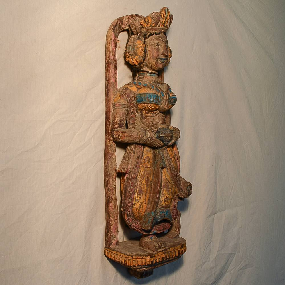 Wooden Handicrafts | Wooden Wall Hanging Lady with Pot Sculpture(1) 0466