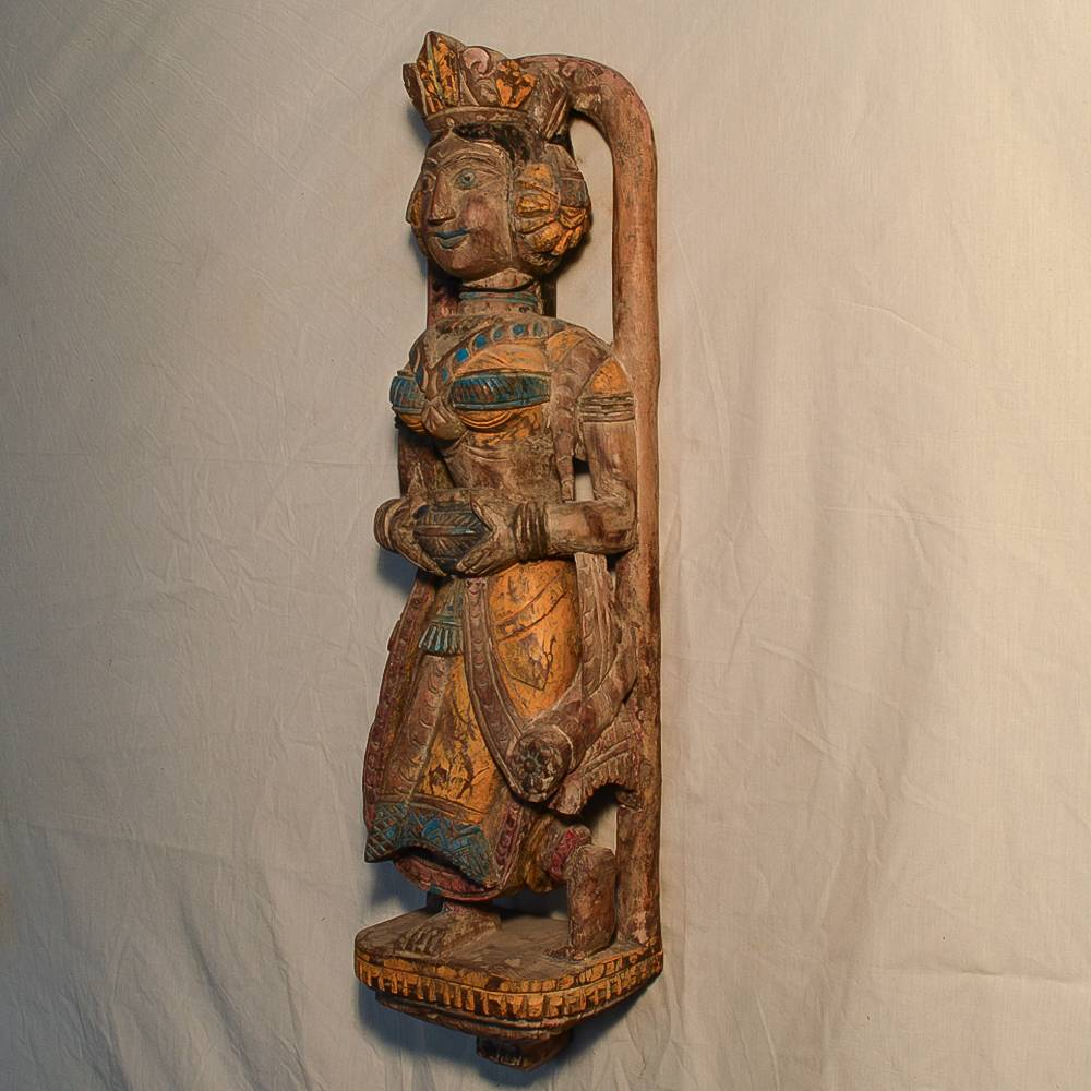 Wooden Handicrafts   Wooden Wall Hanging Lady with Pot Sculpture(2) 0466