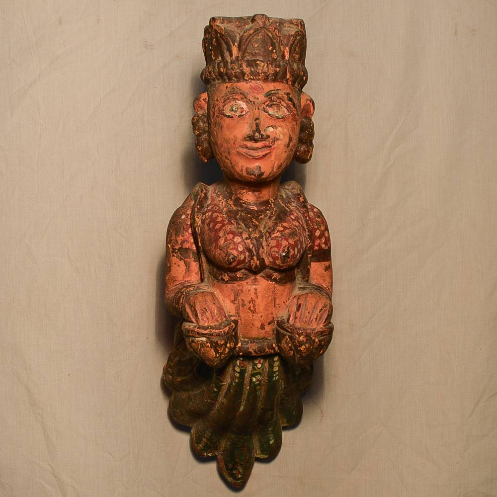 Wooden Handicrafts | Wooden Wall Hanging Pari with Tabla Sculpture 0468