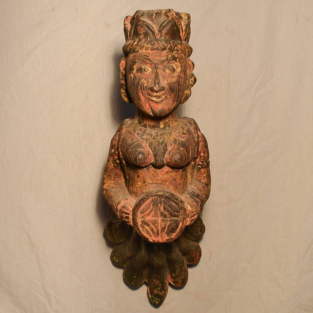 Wooden Handicrafts | Wooden Wall Hanging Pari with Dholak Sculpture 0469