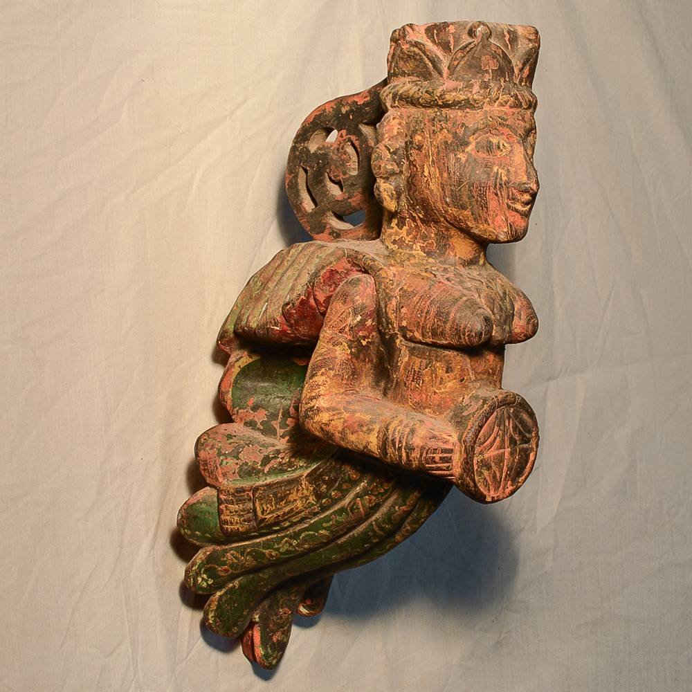 Wooden Handicrafts | Wooden Wall Hanging Pari with Dholak Sculpture(1) 0469