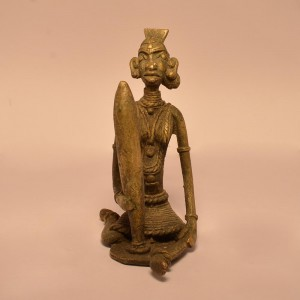 Lady Grinding Spices | Brass Statue 0342